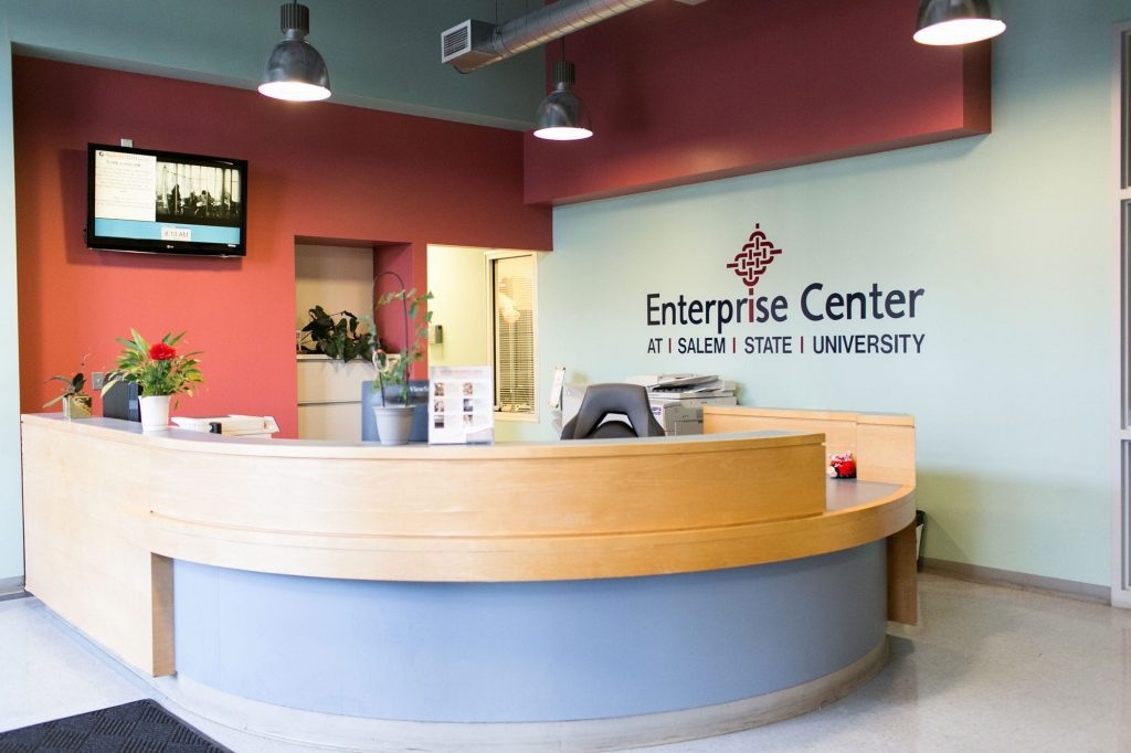 The reception desk at The Enterprise Center in Salem, MA