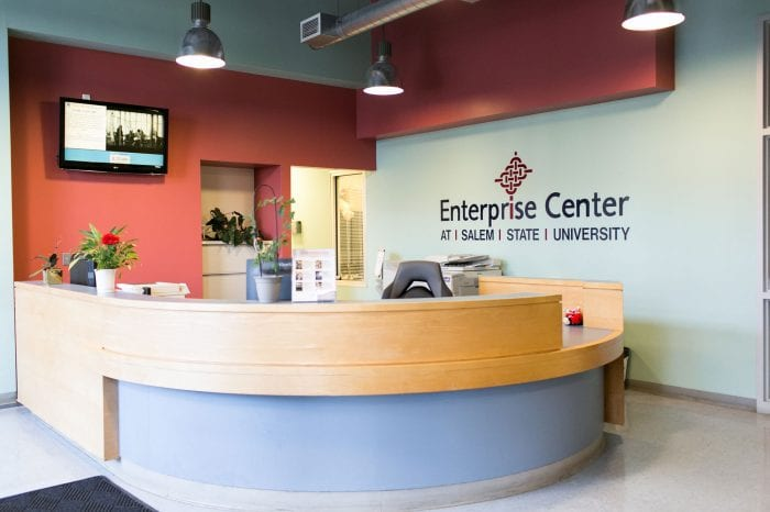 The reception desk at The Enterprise Center in Salem, MA